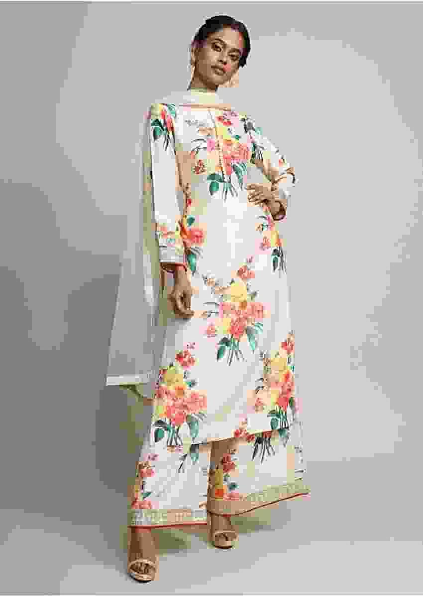 Cream Kurti And Palazzo In Raw Silk With Floral Print And Zari Online - Kalki Fashion