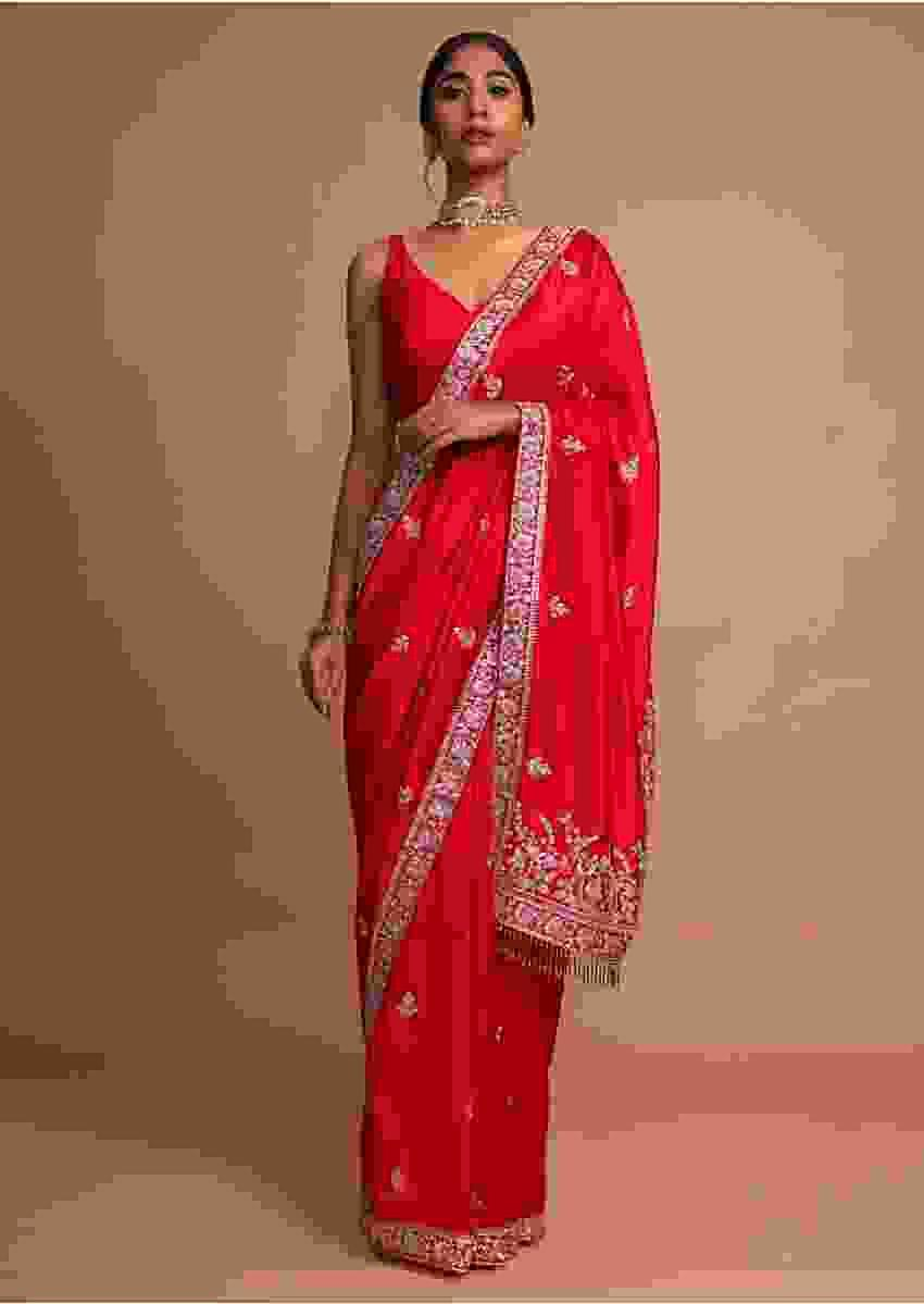 Crimson Red Saree In Dupion Silk With Cut Dana And Zari Embroidered Floral Buttis And Border Online - Kalki Fashion