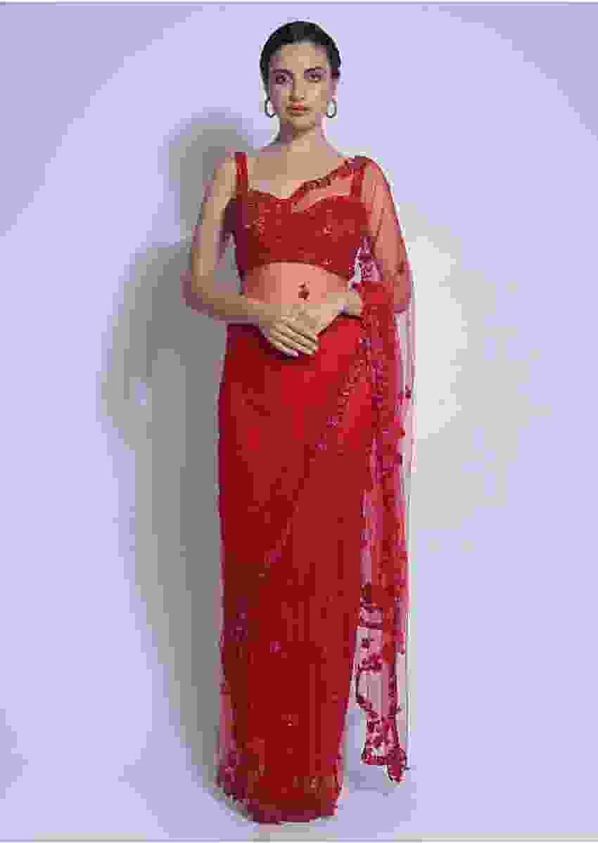 Crimson Red Saree In Net Embellished With Floral Buttis And Border Online - Kalki Fashion