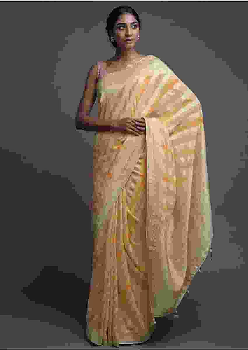 Custard Yellow Saree In Georgette With Lehariya Print And Weaved Pattern Online - Kalki Fashion