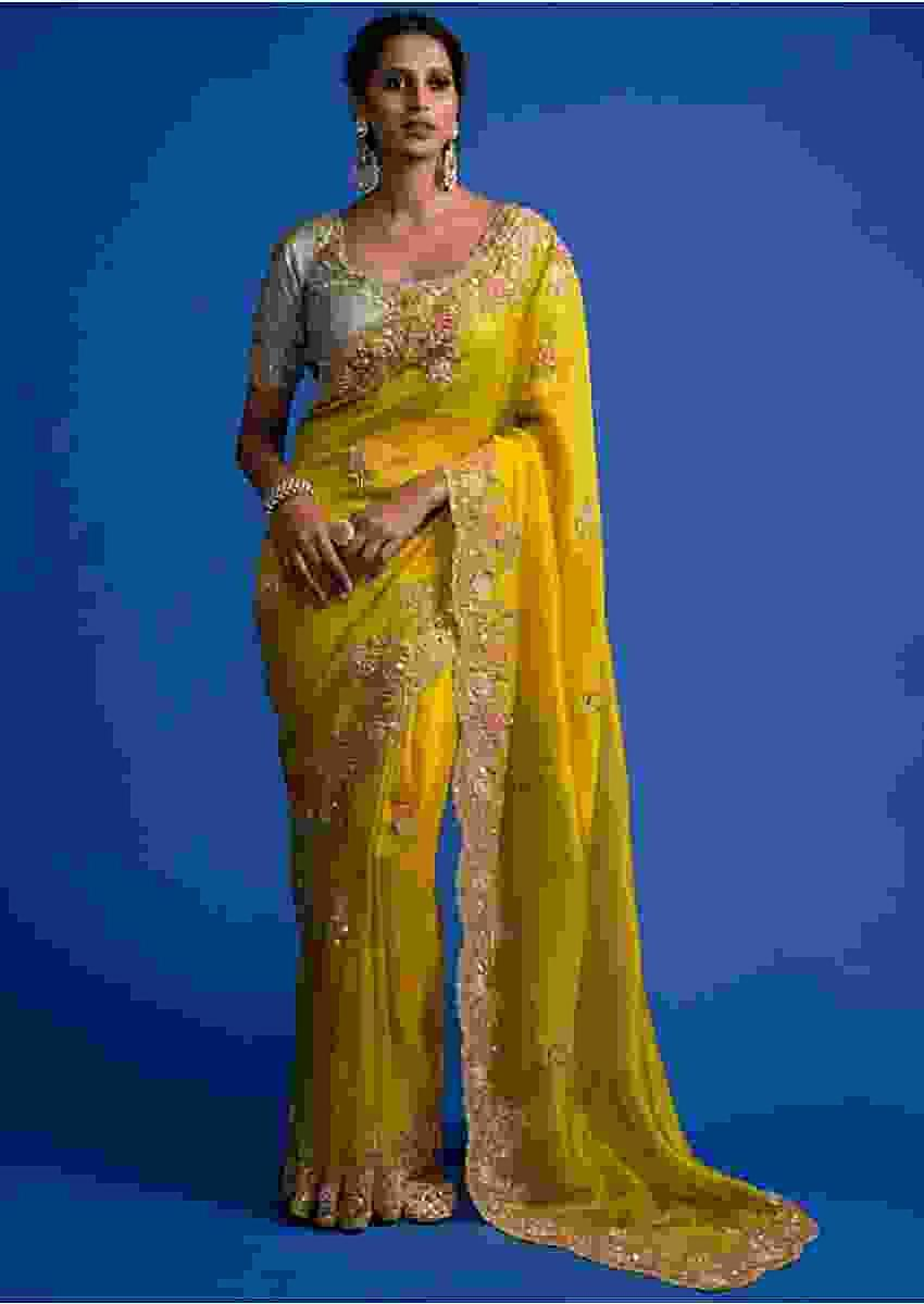 Cyber Yellow Saree In Organza With Cut Dana, Sequins And Zardozi Work In Floral Buttis Online - Kalki Fashion