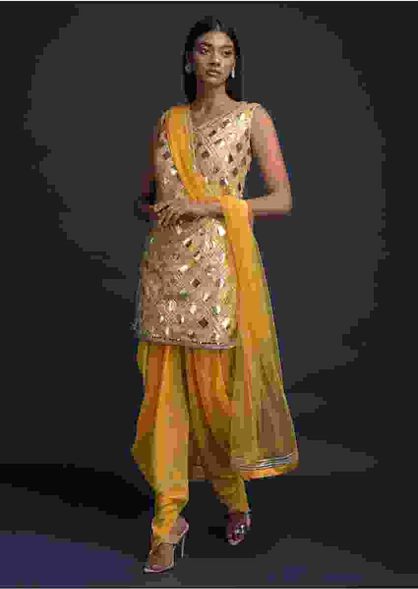 Daffodil Yellow Dhoti Suit In Net With Foil Applique And Gotta Lace Embroidered Checks Pattern Online - Kalki Fashion