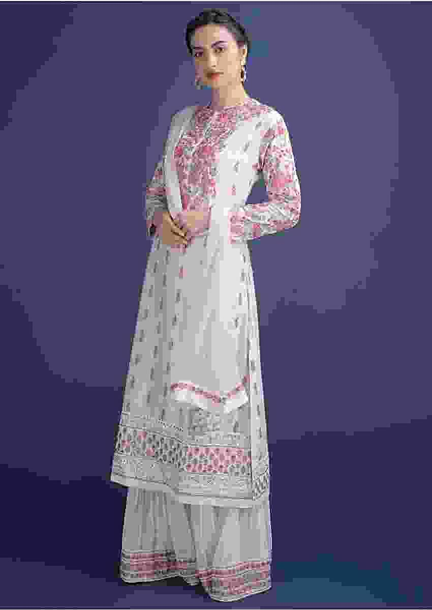 Daisy White Sharara Suit In Cotton Silk With Thread, Zardosi And Kundan Work Online - Kalki Fashion