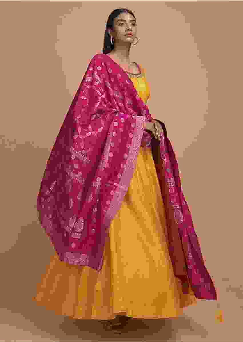 Dandelion Yellow Anarkali Suit With Sequins Embroidered Buttis And Rani Pink Banarasi Dupatta Online - Kalki Fashion