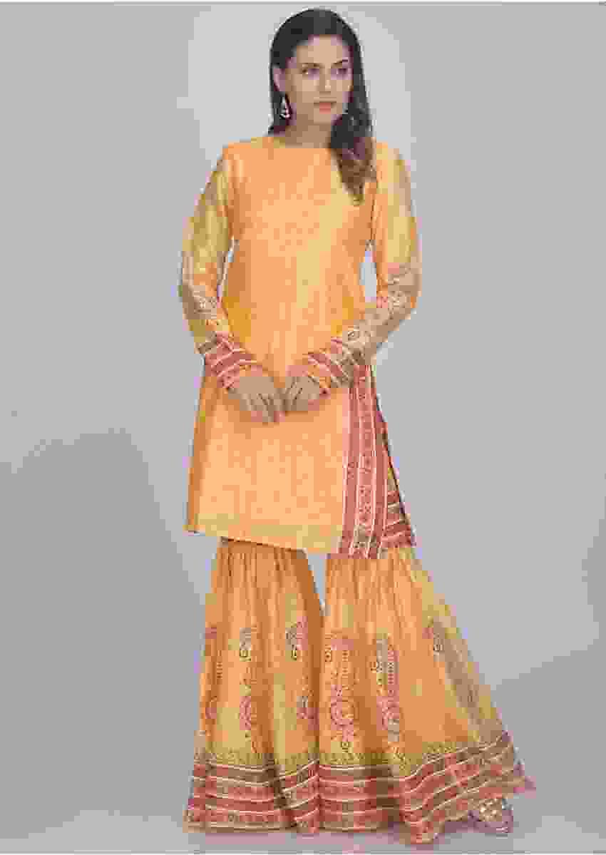 Dandelion Yellow Sharara Set With Short Kurti In Cotton Online - Kalki Fashion