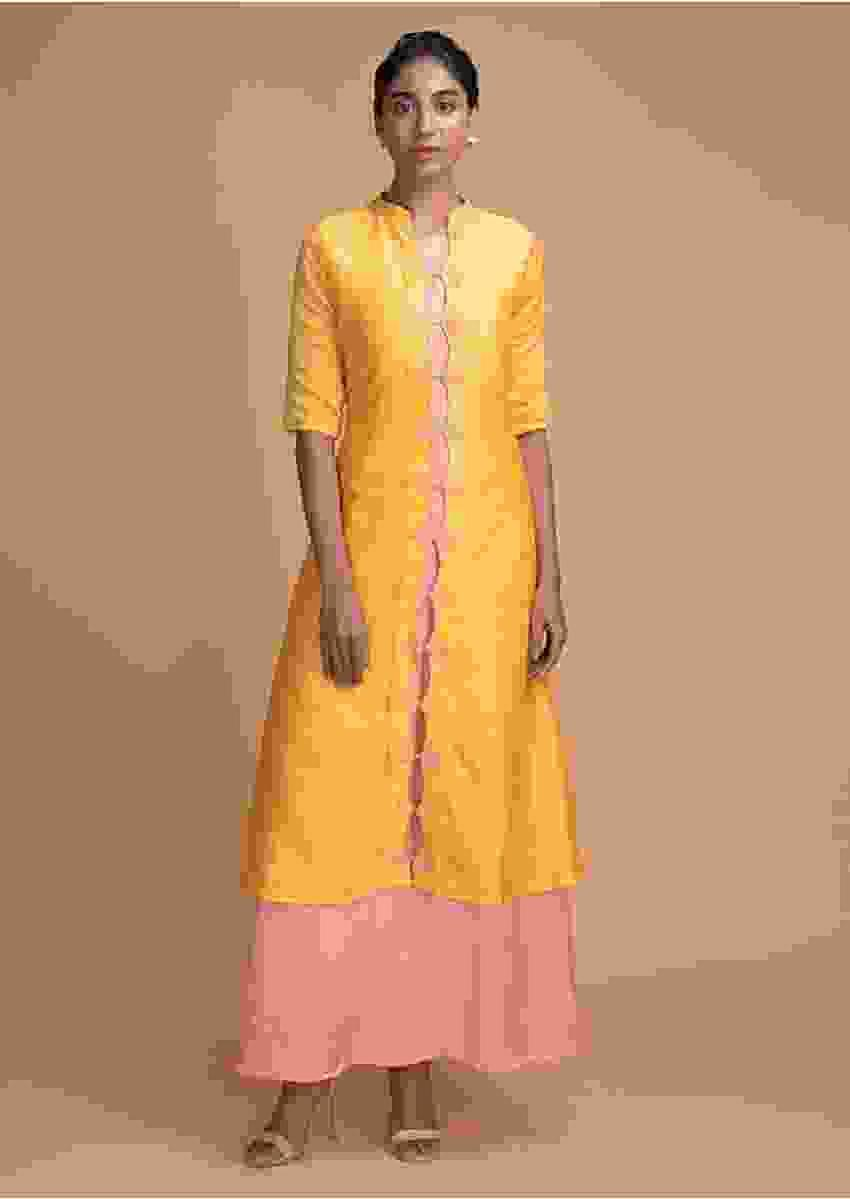 Dandelion Yellow Jacket Dress With Keyhole Cut Placket And Melon Peach Long Inner Online - Kalki Fashion