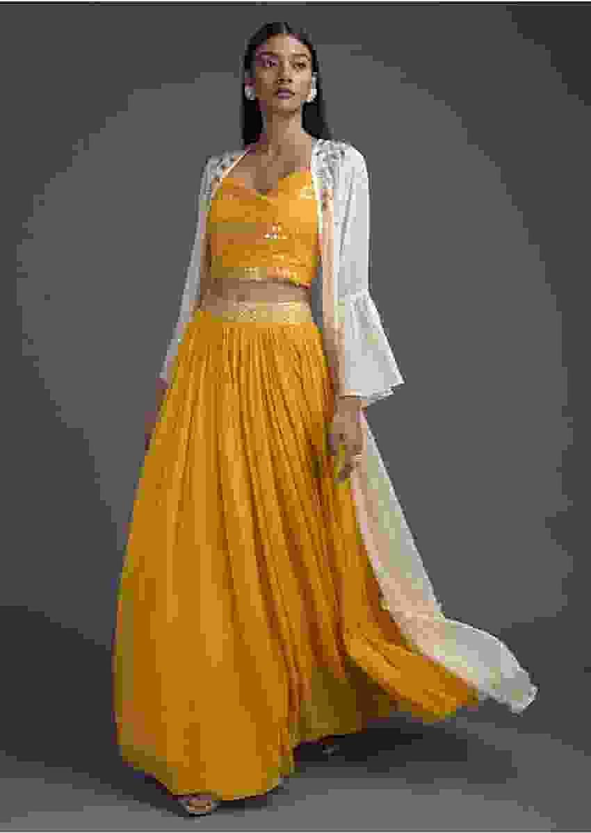 Dandelion Yellow Lehenga Choli And Off White Ruffle Jacket Online - Kalki Fashion