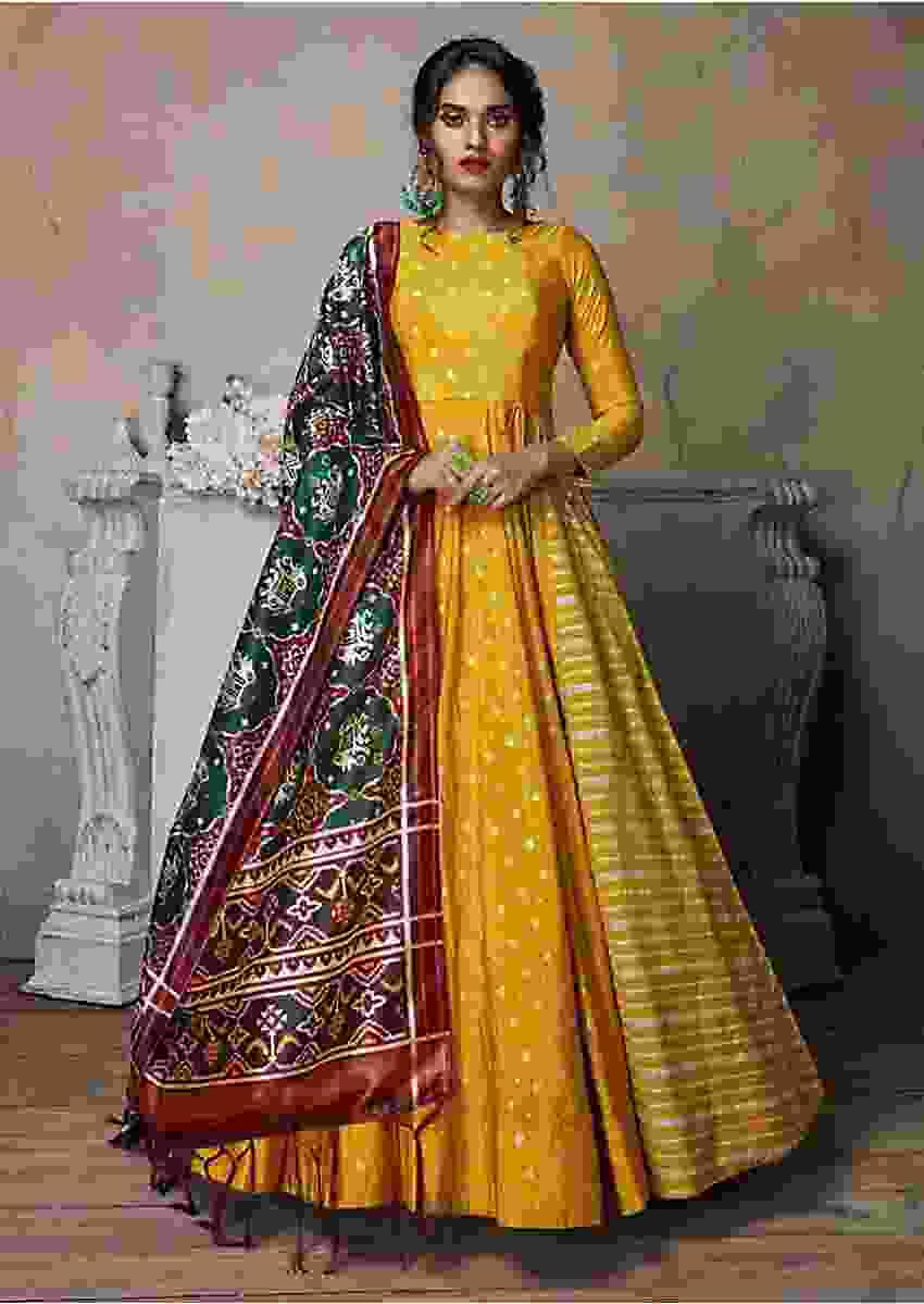 Dandelion Yellow Anarkali Suit With Brocade Buttis  Online - Kalki Fashion
