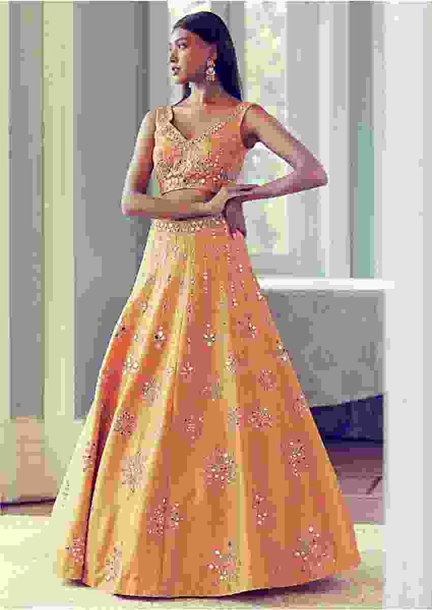 Dark Cheddar Yellow Lehenga Choli With Hand Embroidered Sheesha Work Online - Kalki Fashion