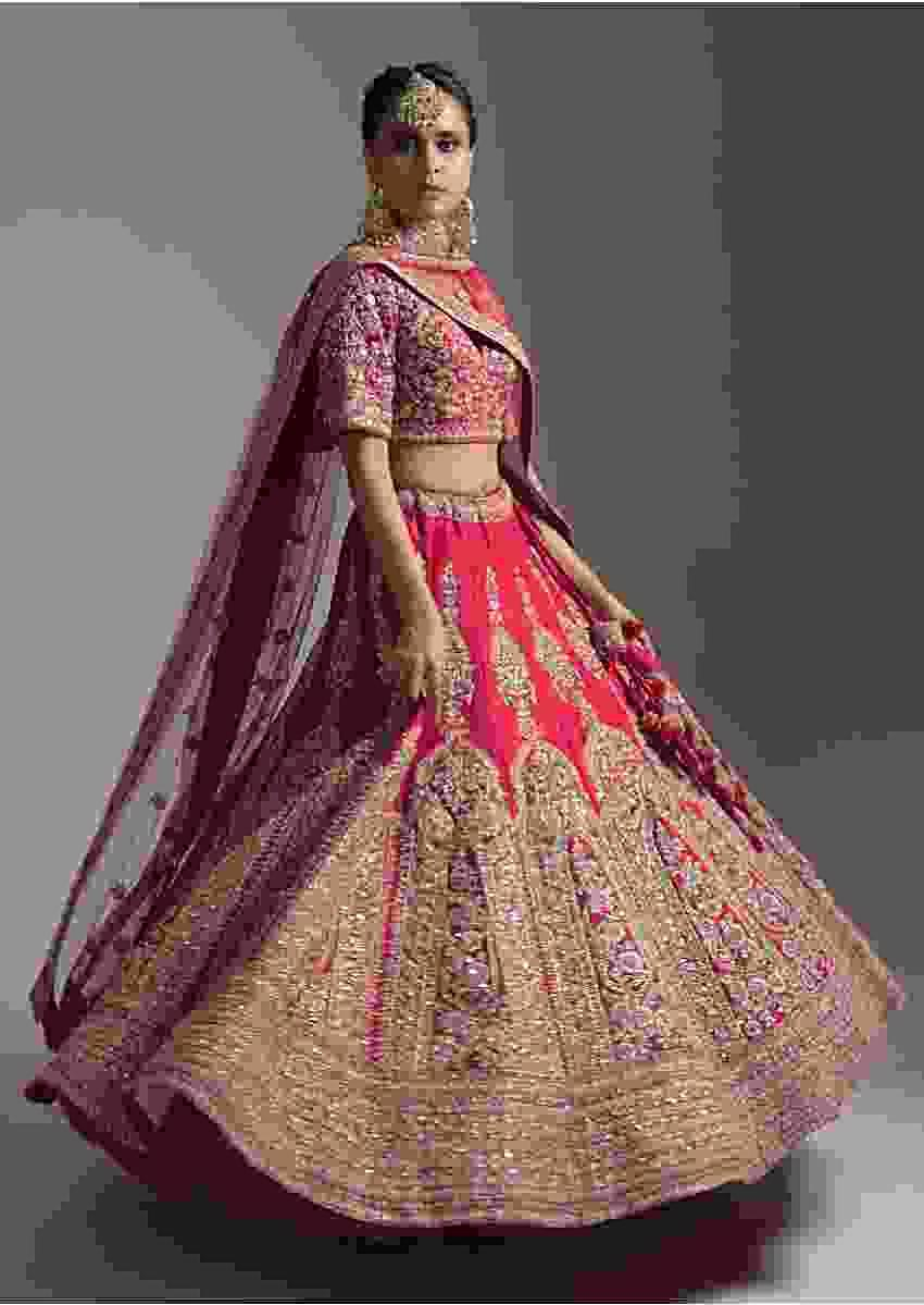Dark Cranberry Pink Bridal Lehenga Choli In Raw Silk With Resham And Zari Embroidered Floral Kalis Online - Kalki Fashion