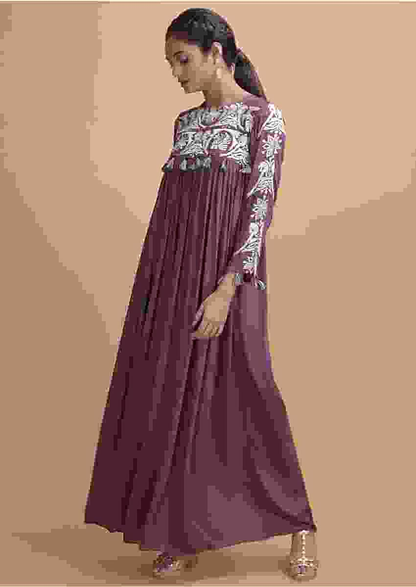 Dark Mauve Long Kurti With A Flared Silhouette And Thread Work Online - Kalki Fashion