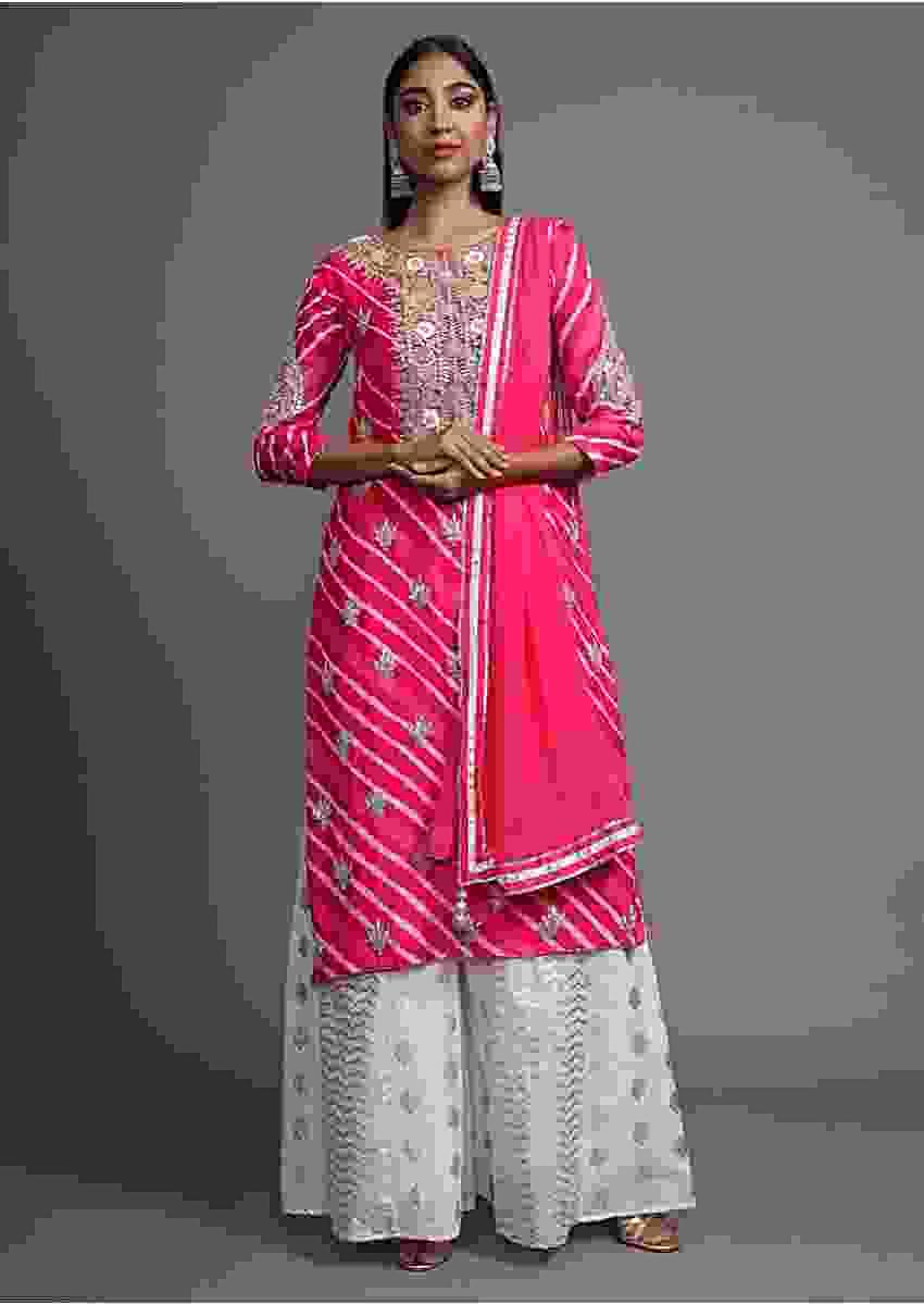 Dark Pink Suit In Georgette With Lehariya Print And Gotta Pattil Embroidered Buttis Online - Kalki Fashion