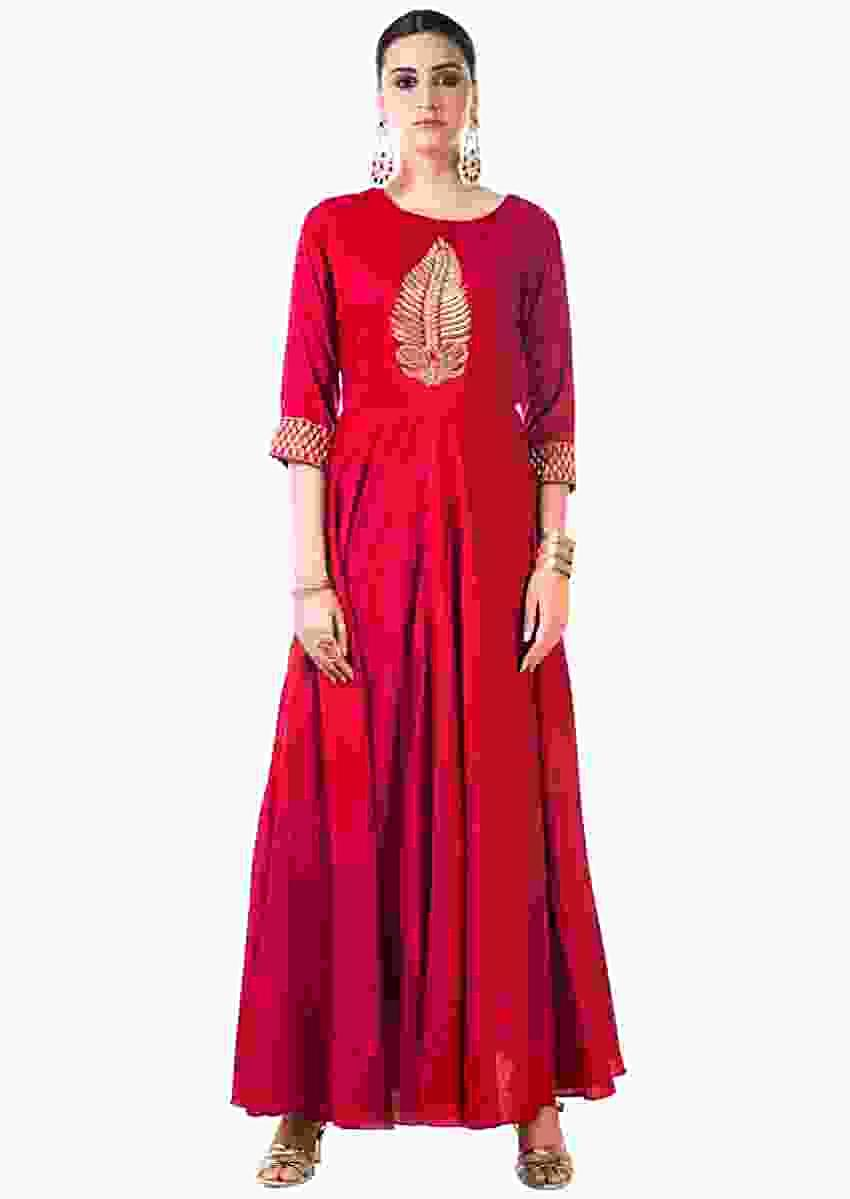 Red Anarkali Gown With Hand Embroidered Leaf Pattern Online - Kalki Fashion