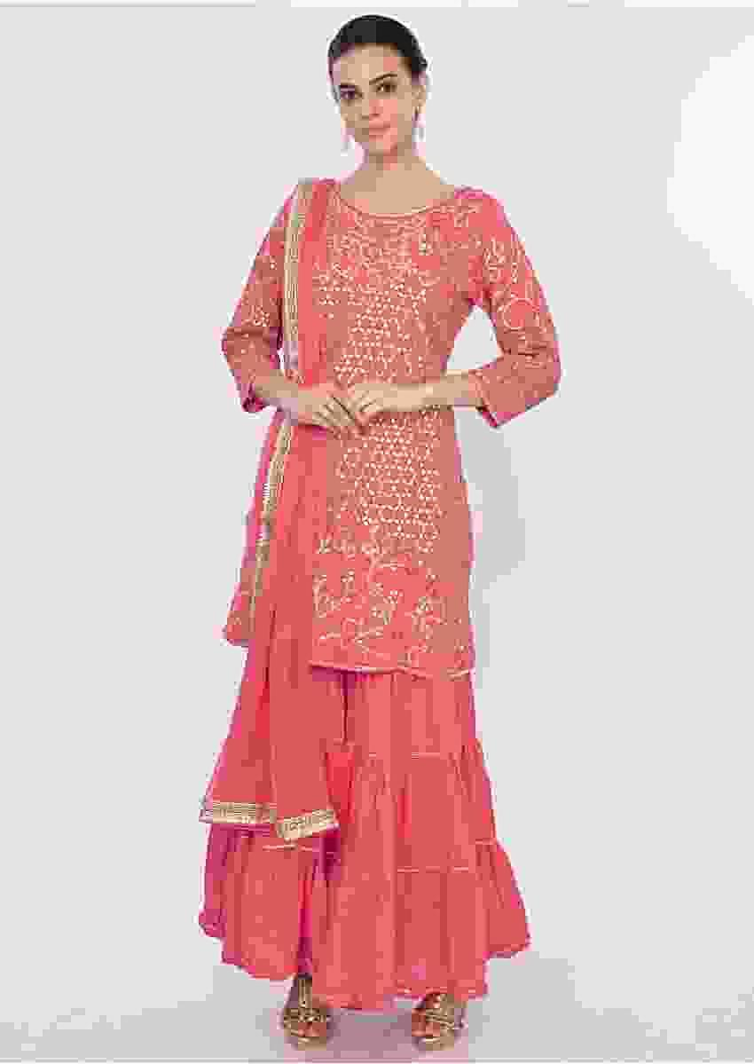 Dark Salmon Pink Sharara Suit Set With Gotta Patch Embroidery Online - Kalki Fashion