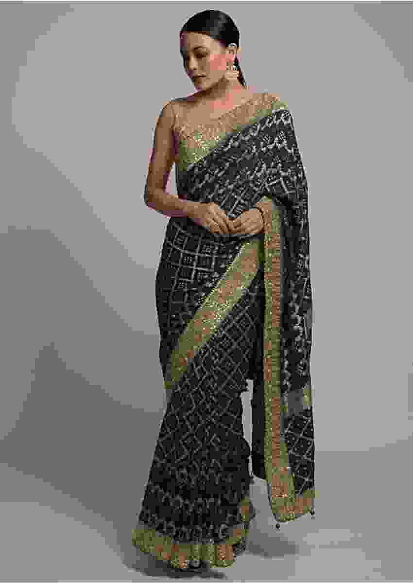 Dark Teal Banarasi Saree In Georgette With Woven Checks And Bandhani Design Online - Kalki Fashion