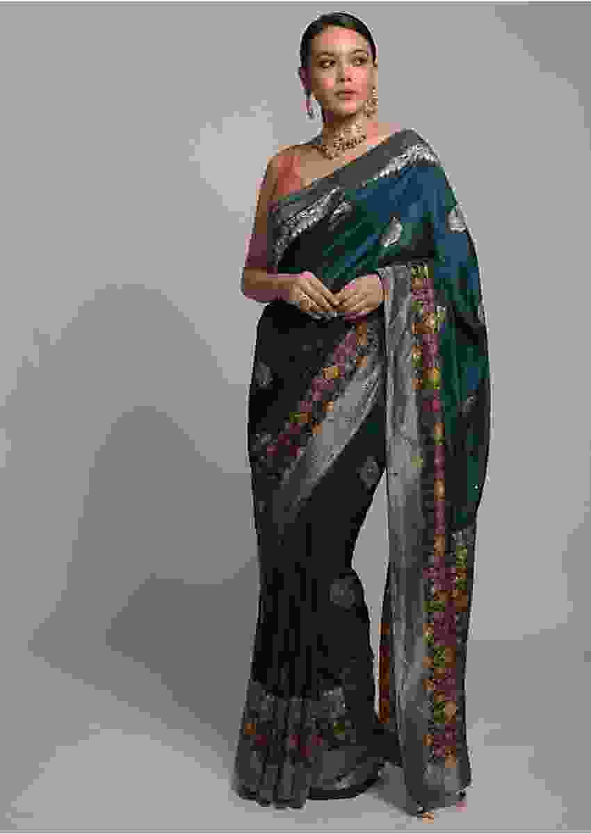 Dark Teal Saree In Art-Loom Silk With Woven Patola Border And Abla Work Online - Kalki Fashion