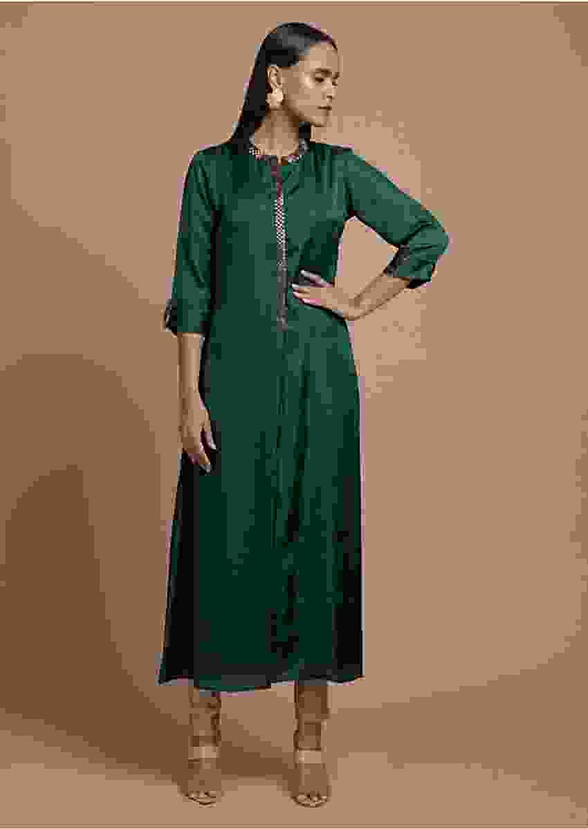 Dark Teal Tunic In Silk Blend With Cut Dana Embellished Placket And Neckline Online - Kalki Fashion
