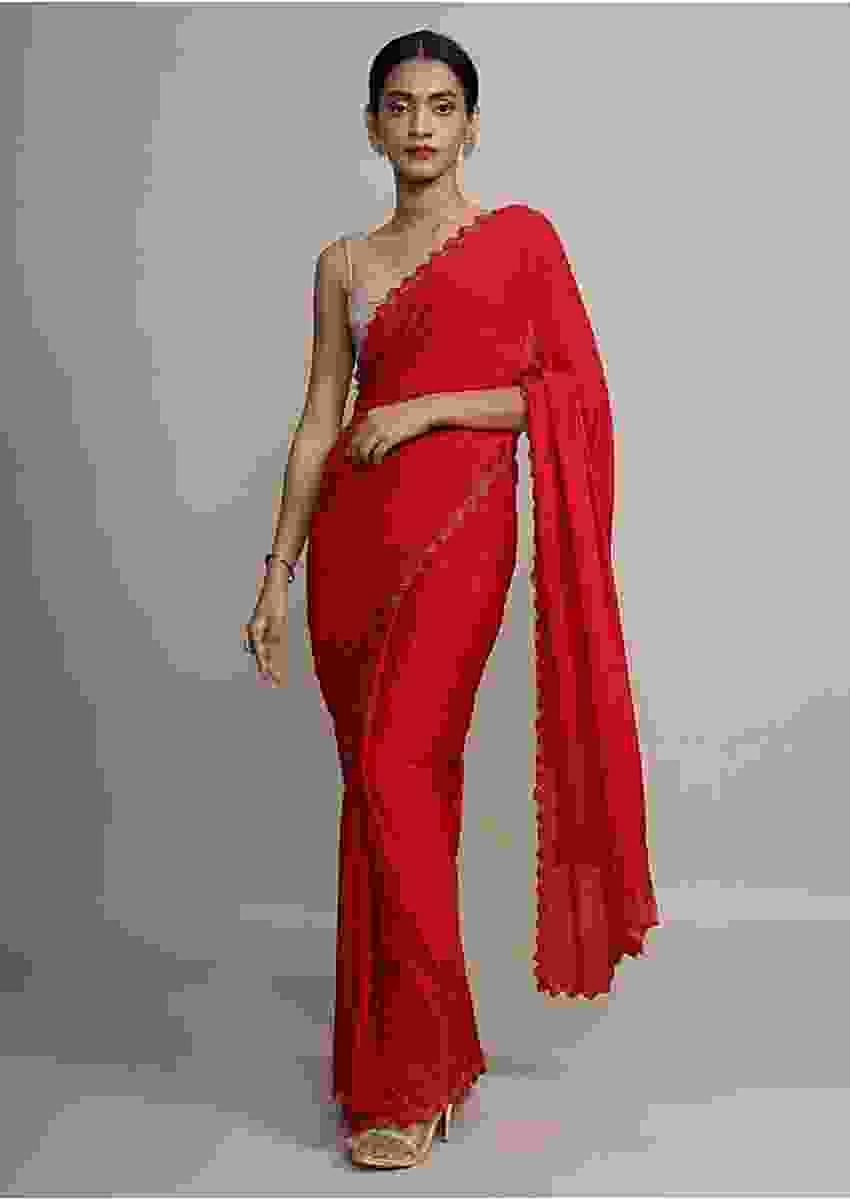 Dark cherry red satin chiffon saree with cut dana scallop embroidered border only on Kalki
