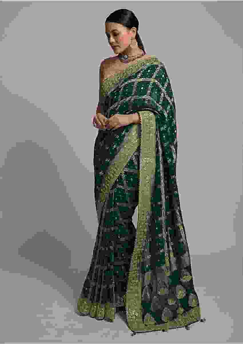 Dark Teal Banarasi Saree In Georgette With Woven Floral Checks And Bandhani Design Online - Kalki Fashion