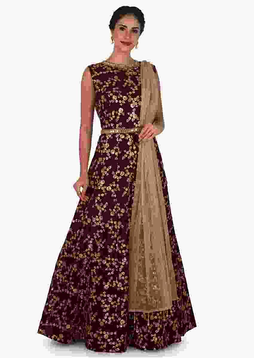 Deep Maroon Suit In Raw Silk Embellished With Zari And Mirror Embroidery Work Online - Kalki Fashion