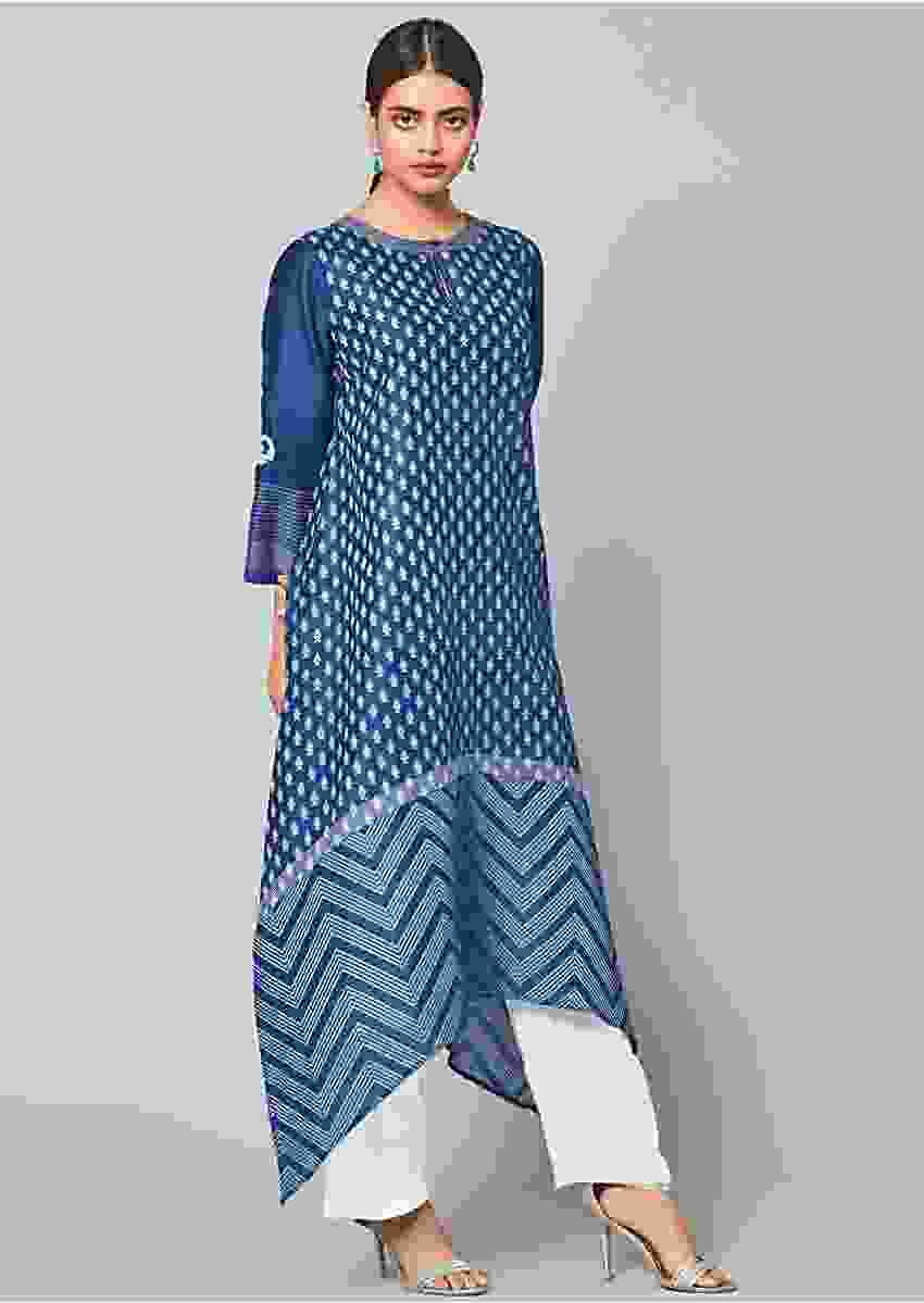 Denim Blue High Low Kurta In Cotton With Printed Leaf Shaped Buttis Online - Kalki Fashion