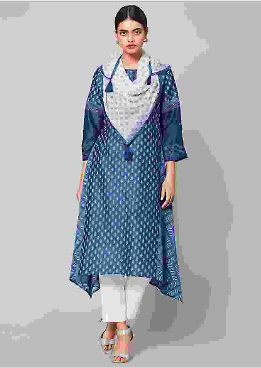 Denim Blue High Low Kurta With Leaf Printed Buttis, Printed Scarf And White Bottoms Online - Kalki Fashion
