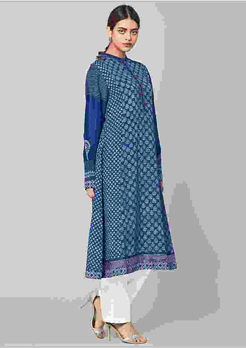 Denim Blue Kurta In Cotton With Floral Printed Buttis All Over Online - Kalki Fashion