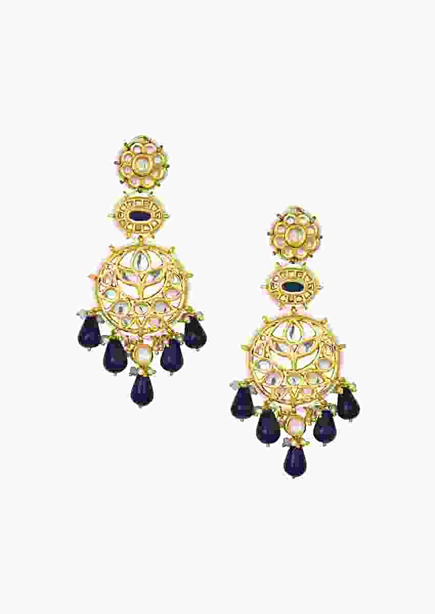 Detailed Kundan Polki Earrings With Dazzling Blue Onyx Drops Online - Joules By Radhika