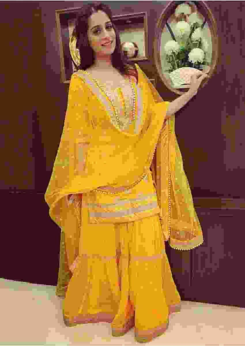 Dipika Kakar in Kalki butter yellow brocade sharara set