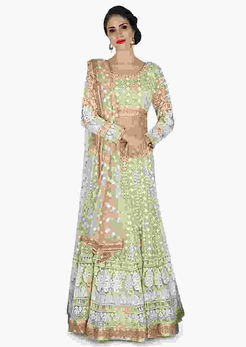 Light Brown Lehenga With Ready Blouse In Embossed Thread Work And Zari- Online -Kalki Fashion