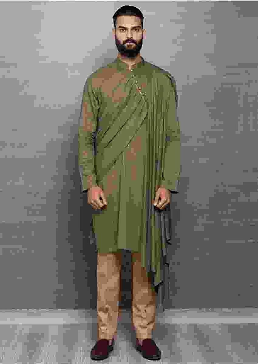 Olive Green Kurta In Cotton With Side Drape Online - Kalki Fashion