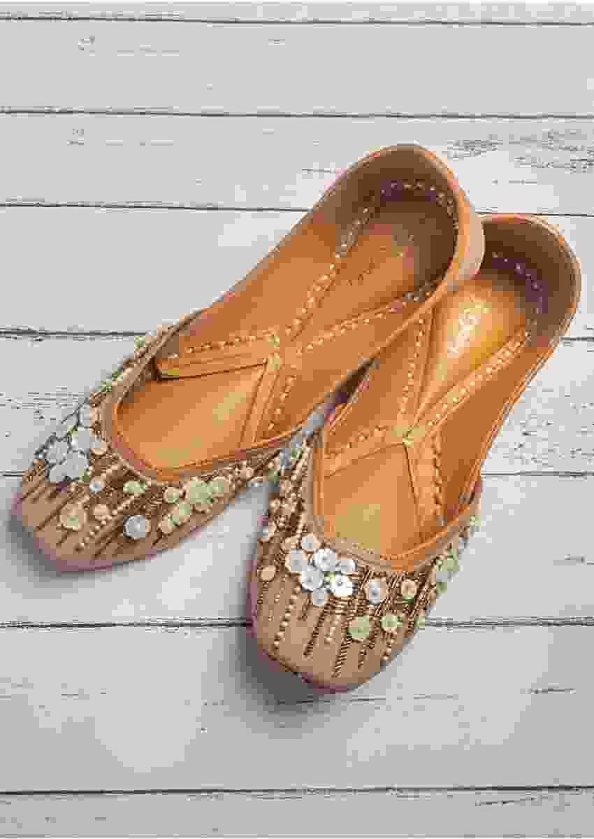 Dusky Pink Juttis In Raw Silk With Shell Flowers, Beads And Silver And Antique Gold Cut Dana Work By Vareli Bafna