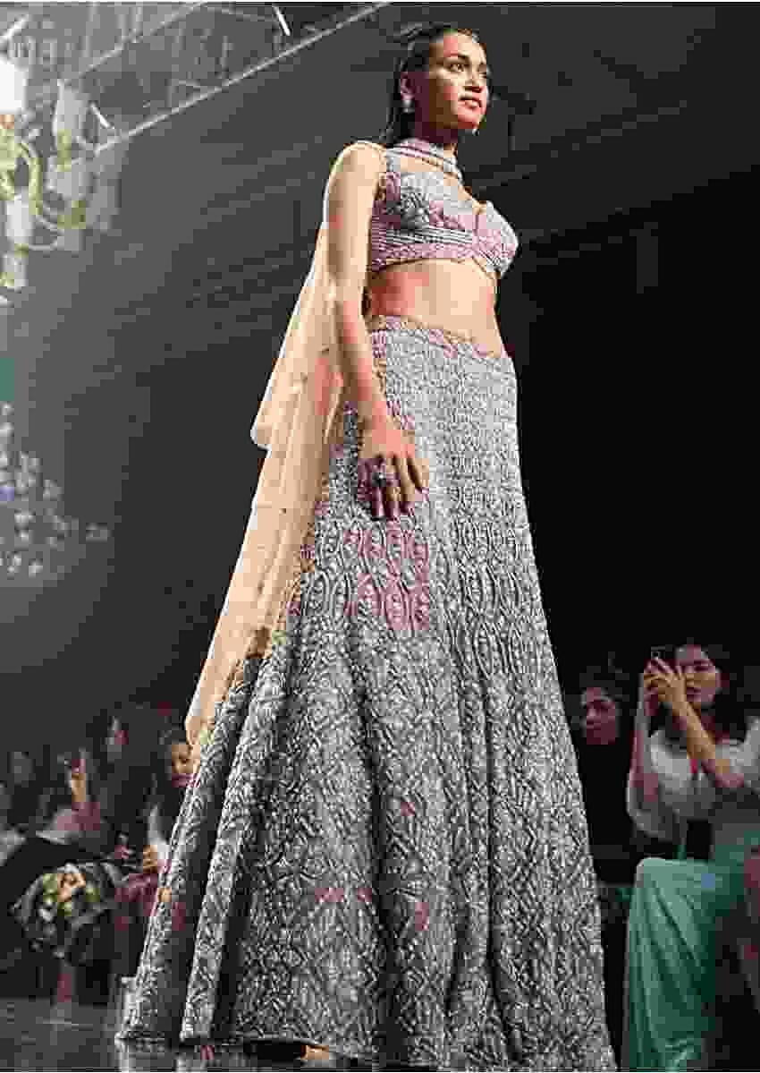 Eve Champagne Lehenga Choli With Cut Dana Work And Embellished Choker With Attached Dupatta Online - Kalki Fashion