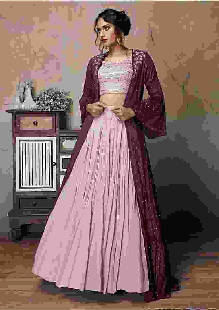 Dusty Pink Skirt And Crop Top With Purple Bell Sleeves Jacket And Sequins Work Online - Kalki Fashion