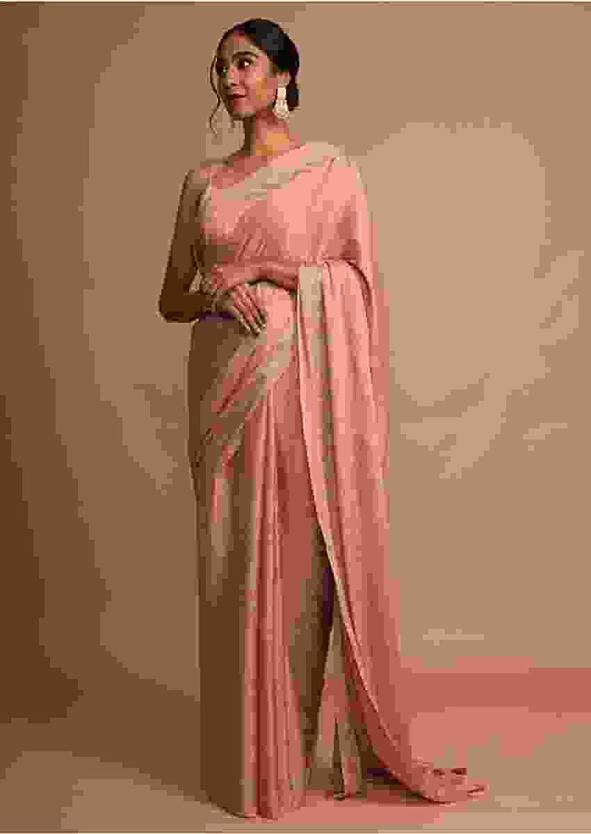 Earthy Pink Saree In Chinon Chiffon With Badla Embroidered Geometric Buttis And Border Online - Kalki Fashion