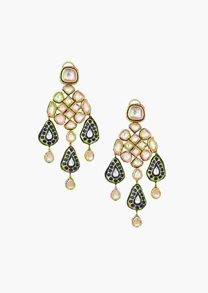 Eccentric Golden Minakari Earrings With Traditional Kundan Polki Online - Joules By Radhika