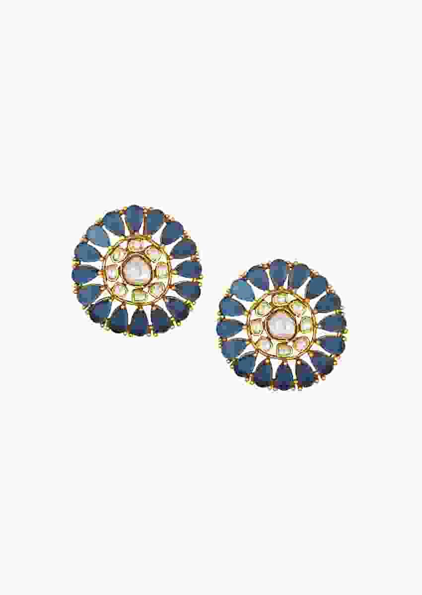 Eccentric Kundan Polki Earrings With Onyx Drops In Round Motif Online - Joules By Radhika