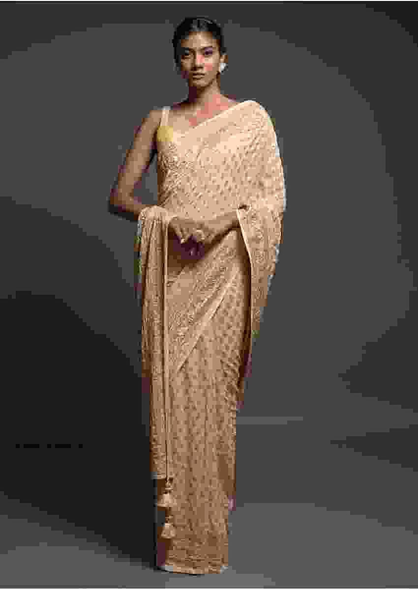 Egg Nog Beige Banarasi Saree In Georgette With Weaved Buttis And Stone Work Online - Kalki Fashion