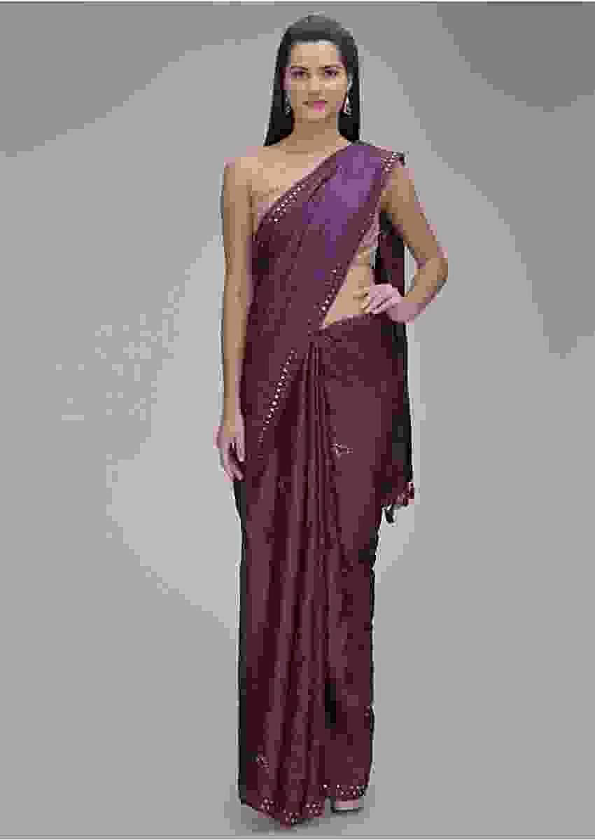 Eggplant Purple Saree In Tussar Silk With Mirror Abla Work Online - Kalki Fashion