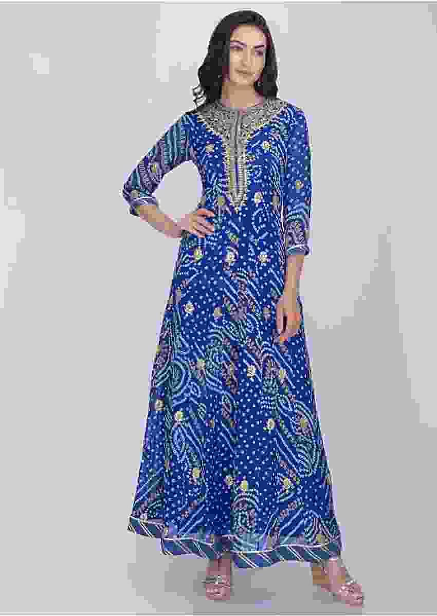 Egyptian Blue Anarkali Suit In Georgette With Bandhani Print Online - Kalki Fashion