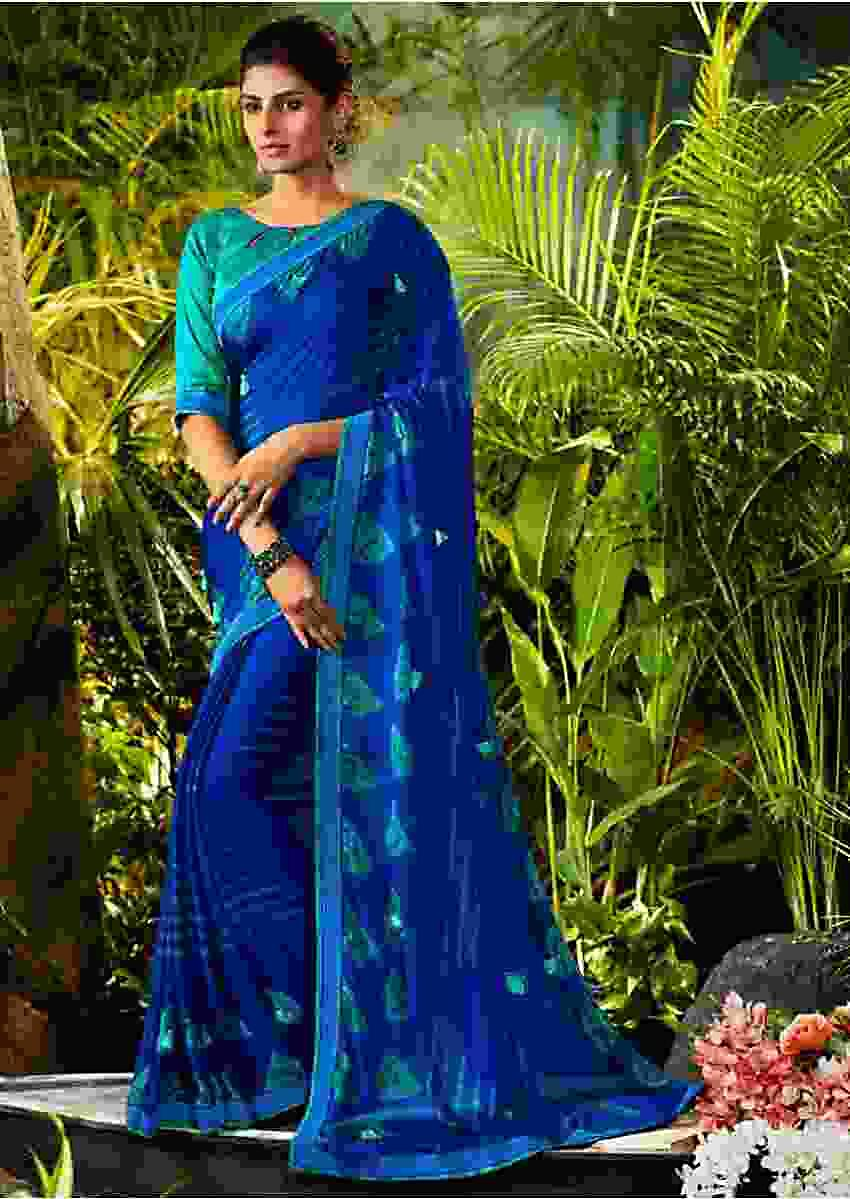 Egyptian Blue Saree In Georgette With Turq Silk Blouse Piece Online - Kalki Fashion