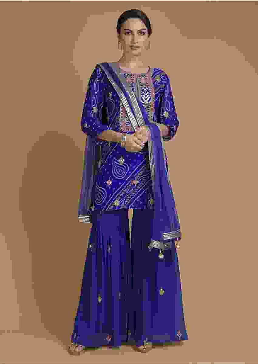 Egyptian Blue Sharara Suit With Bandhani Print And Gotta Work Online - Kalki Fashion