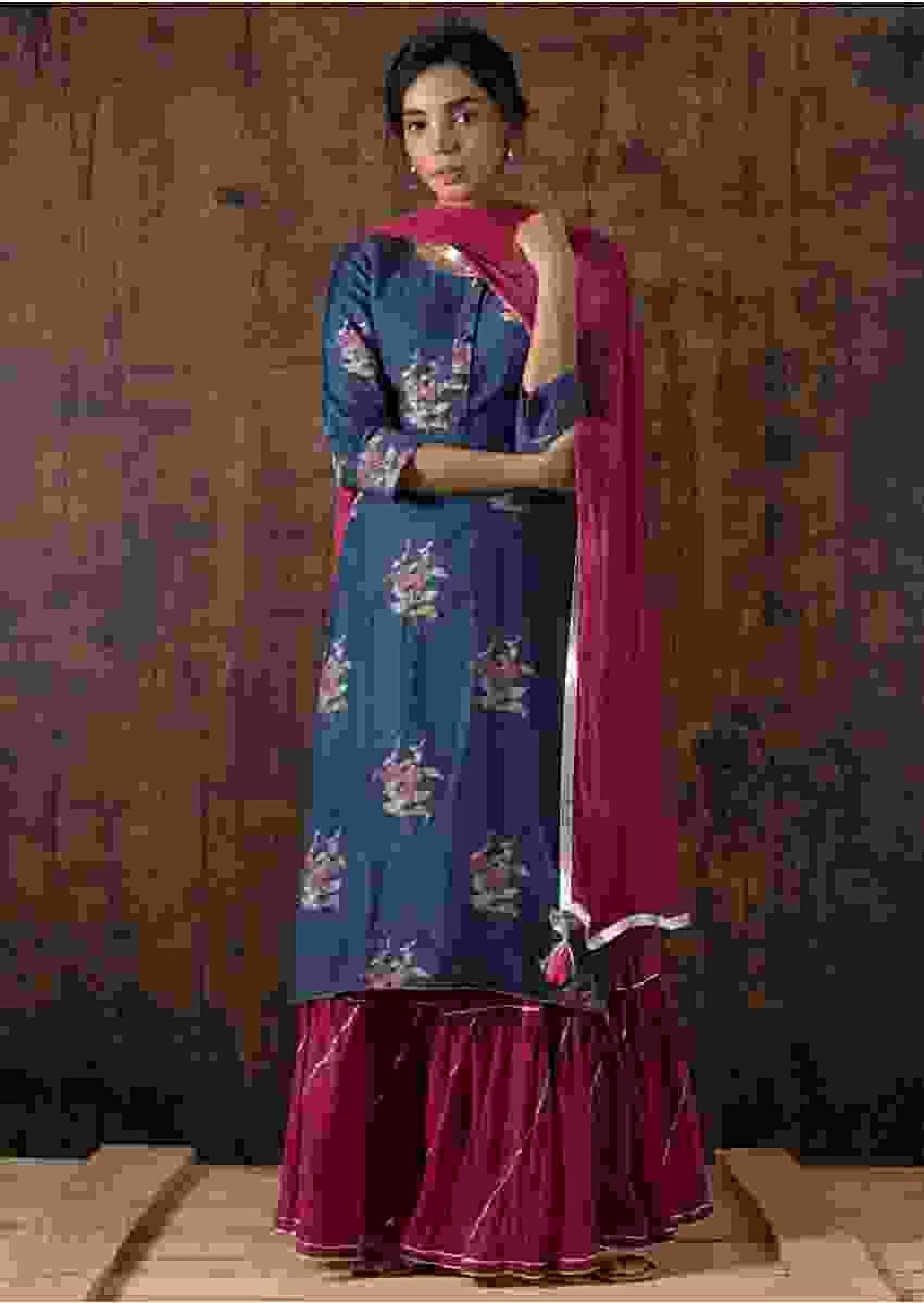 Egyptian Blue Suit In Cotton With Floral Print And Wine Sharara Bottoms Online - Kalki Fashion