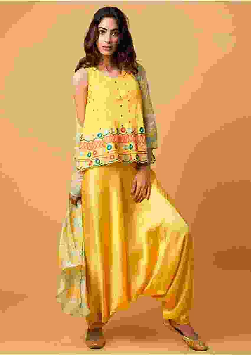 Electric Yellow Suit With Embroidered Top, Low Crotch Pants And Floral Printed Jacket Online - Kalki Fashion