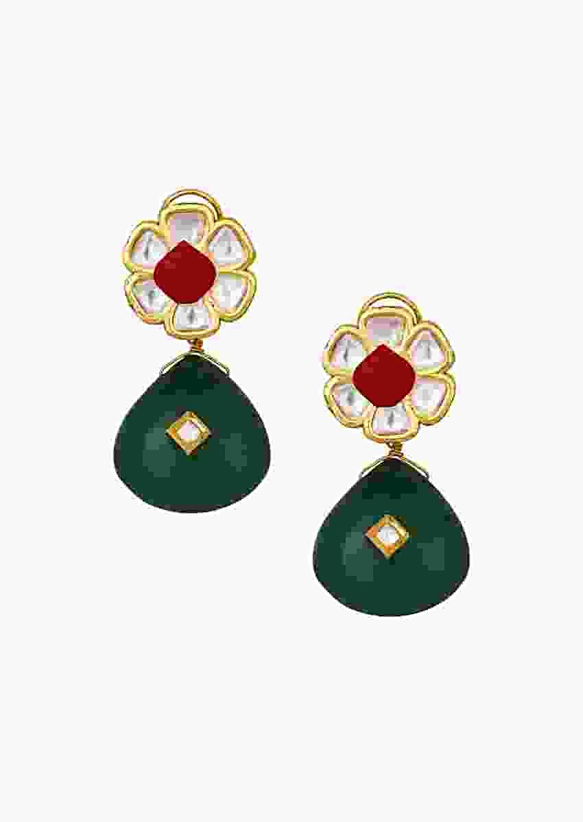 Elegant Kundan Polki Earrings In Floral Motif With Green And Red Onyx Carvings Online - Joules By Radhika
