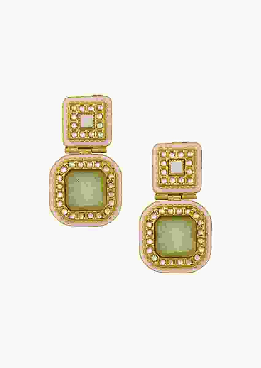 Embellished Kundan Polki Earrings With Gold Enamelling And Carved Green Onyx Online - Joules By Radhika