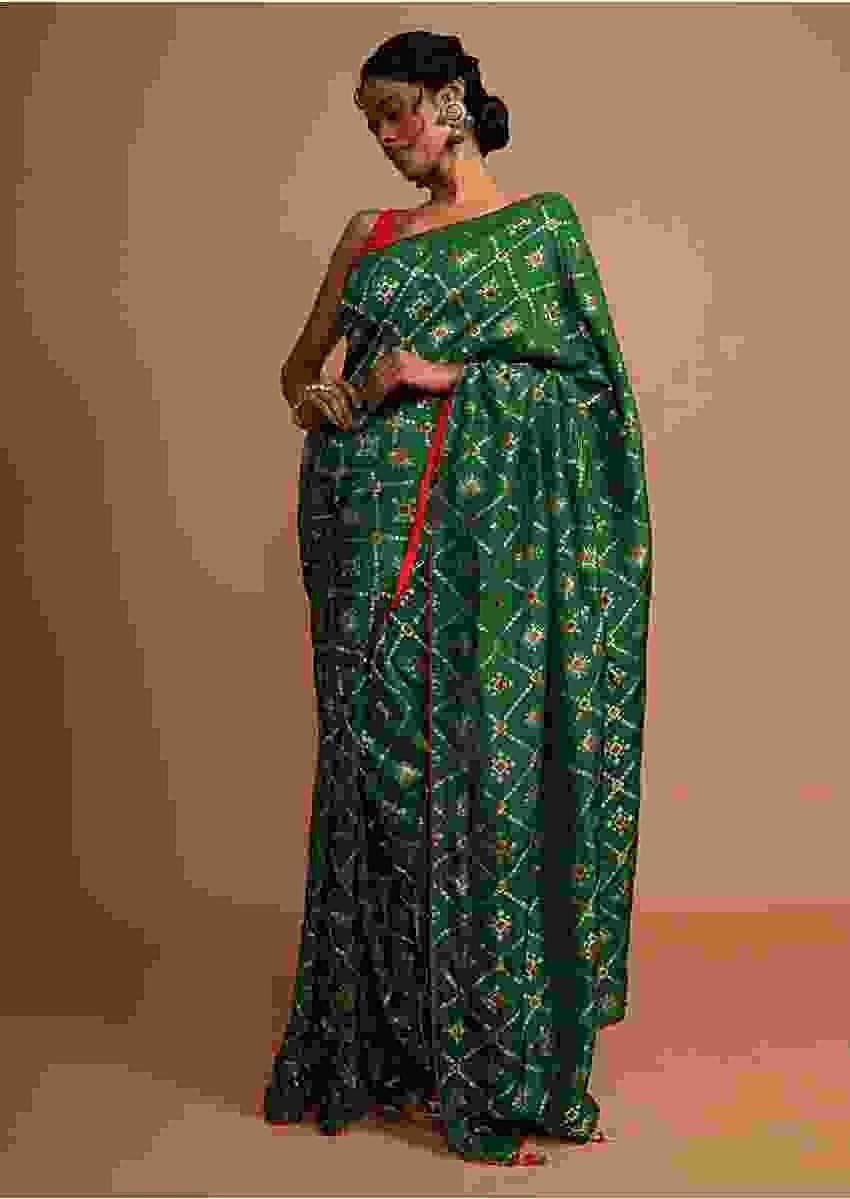Emerald green bandhani printed dola silk saree with weaved work Online - Kalki Fashion