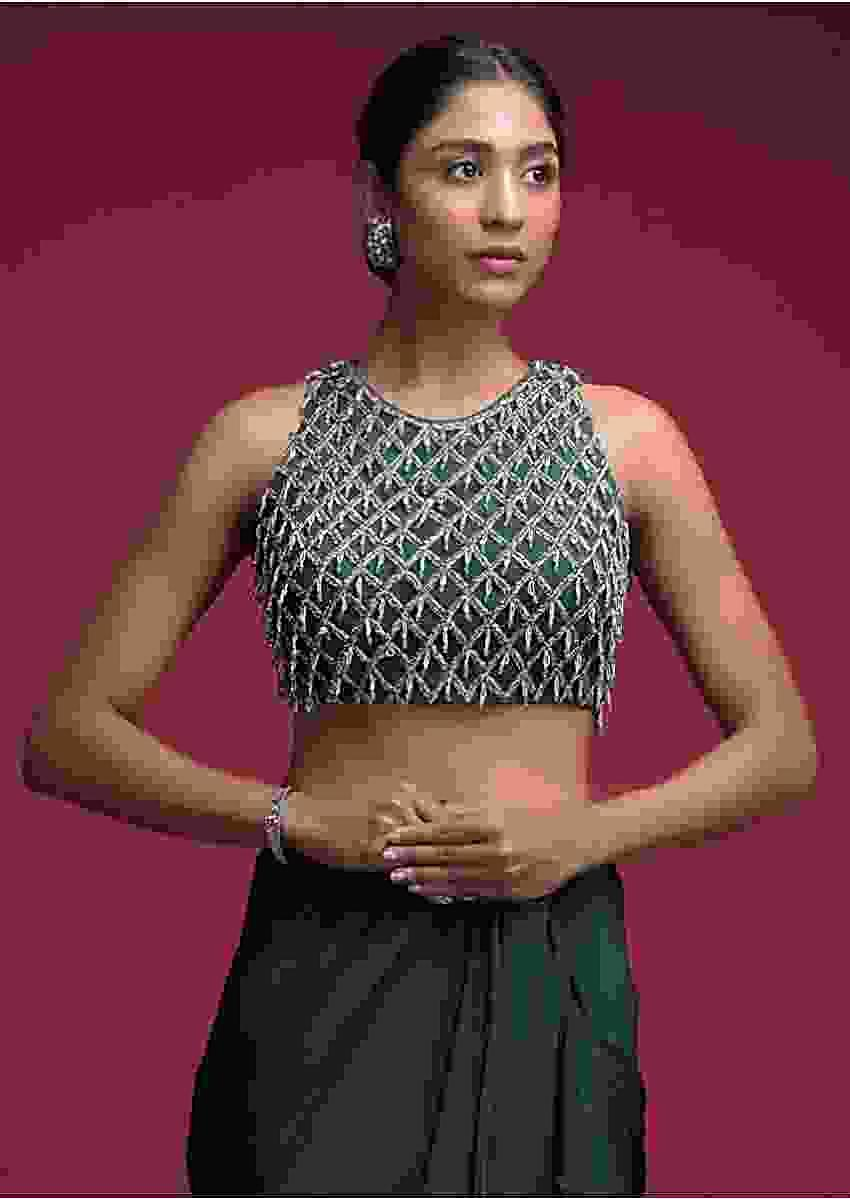 Emerald Green Crop Top With Cut Dana Embellished Checks And Bead Tassels Online - Kalki Fashion