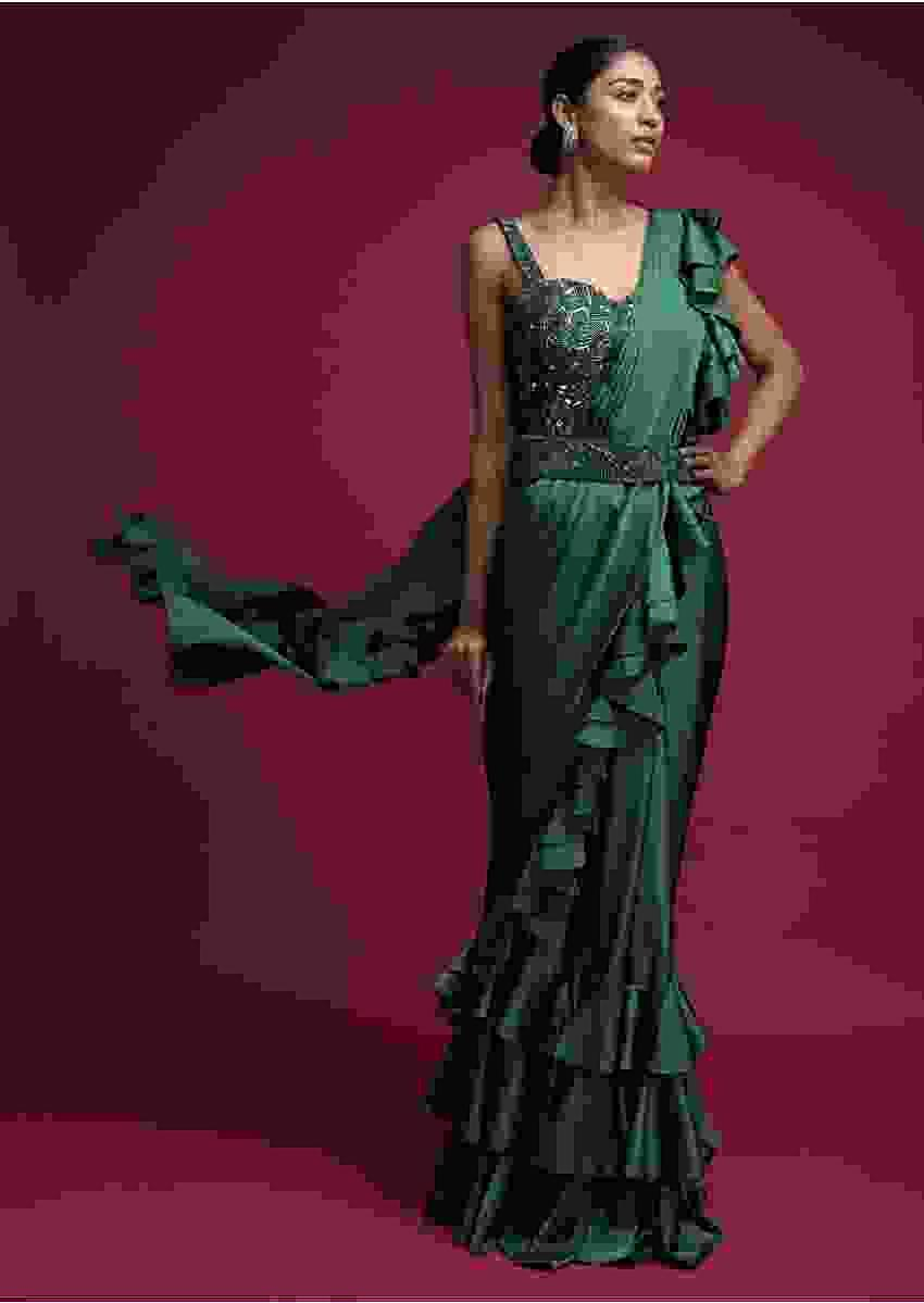 Emerald Green Ready Pleated Ruffle Saree In Milano Satin With Layered Ruffles On The Pleats Online - Kalki Fashion