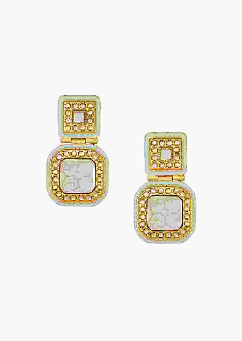 Exquisite Kundan Polki Earrings With Gold Enamelling And Carved White Pearl Online - Joules By Radhika